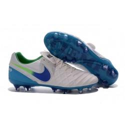 Nuove Scarpe Calcio Nike Tiempo Genio Leather FG Bianco Blu Verde