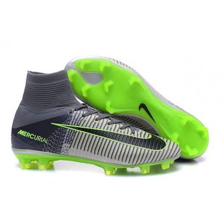 2016 Nuove Scarpa da calcio Nike Mercurial Superfly V FG Grigio Nero Verde