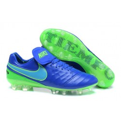 Nuove Scarpe Calcio Nike Tiempo Legend Pelle FG Blu Verde