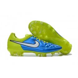 Nuove Scarpe Calcio Nike Tiempo Legend V FG Blu Bianco Volt Nero