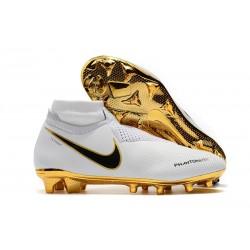 Scarpe Per Gli Uomini Nike Phantom Vision Elite DF FG Oro Bianco