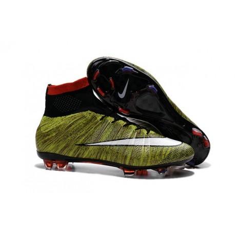 Nuove Scarpe calcio Nike Mercurial Superfly FG - Volt Bianco Nero Multicolore