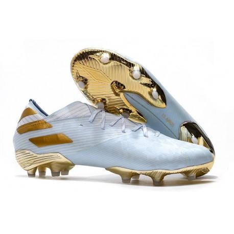 adidas Scarpe da Calcio Nemeziz 19.1 FG - Bianco Oro Metallico Light Aqua