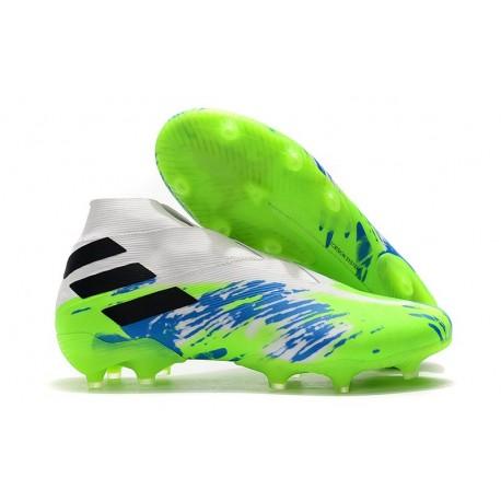 Scarpe da Calcio adidas Nemeziz 19+ FG Bianco Verde Blu