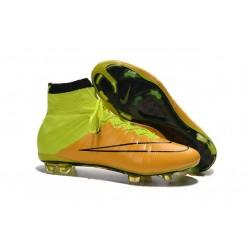 Nuove Scarpe calcio Nike Mercurial Superfly FG - Pelle Giallo Volt Nero