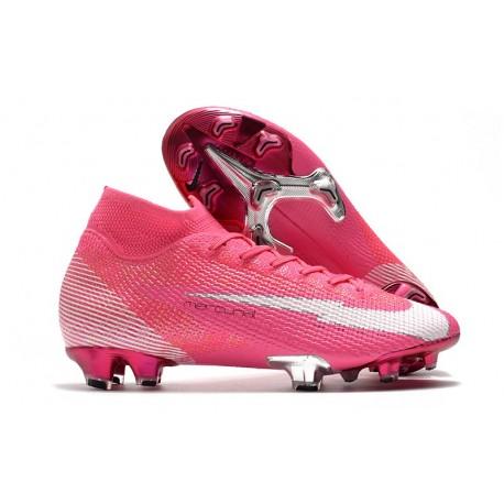 Nike Mercurial Superfly 7 Elite DF FG x Mbappé Rosa Blast Bianco Nero