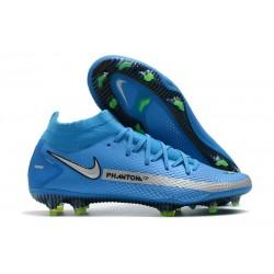 Nuovo Scarpe Nike Phantom GT Elite DF FG Blu Argento