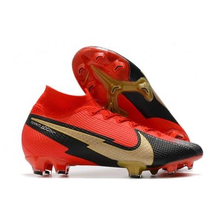 Nike 2021 Mercurial Superfly VII Elite DF FG Rosso Nero Oro