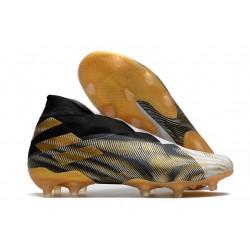 adidas Nemeziz 19+ FG Scarpa da Uomo - Bianco Oro Metallico Nero Core