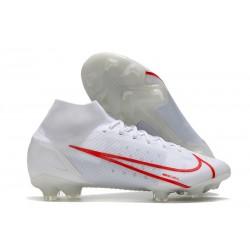 Nike Mercurial Superfly 8 Elite FG Scarpe Bianco Rosso