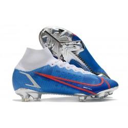 Nike Mercurial Superfly VIII Elite FG Blu Bianco