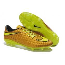 2015 Scarpa da calcio Nike HyperVenom Phantom FG Oro Volt Nero