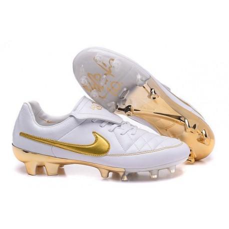 Scarpe Calcio Tiempo Legend V FG Nike Uomo R10 Bianco Oro
