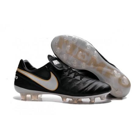 Nuove Scarpe Calcio Nike Tiempo Genio Leather FG Nero Bianco Oro