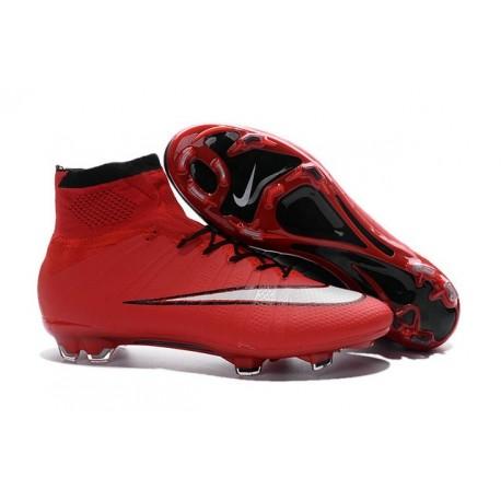 Nuove Scarpe calcio Nike Mercurial Superfly FG - Rosso Nero Bianco
