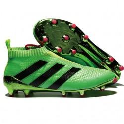 Nuovi Scarpette da Calcio Adidas Ace 16+ Purecontrol FG / AG Verde Solar Rosa Shock Nero