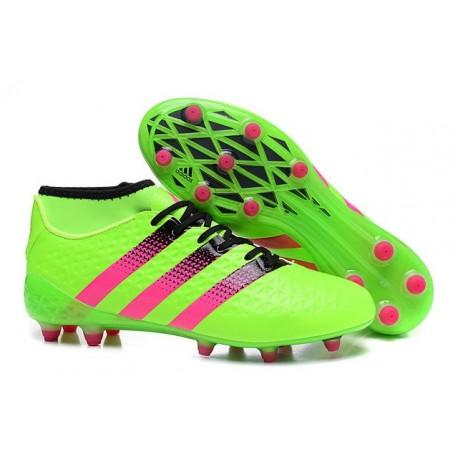 2016 Scarpini Calcio Adidas ACE 16.1 Primeknit FG/AG - Verde Solar Rosa Shock Nero