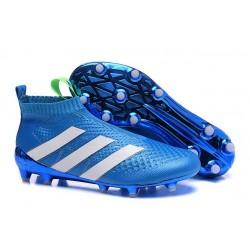 Nuovi Scarpette da Calcio Adidas Ace 16+ Purecontrol FG / AG Blu Bianco