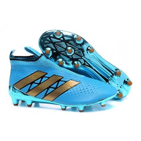 Nuovi Scarpette da Calcio Adidas Ace 16+ Purecontrol FG / AG Blu Oro