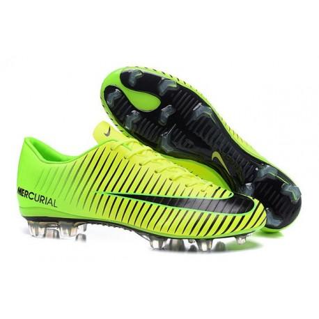 2016 Scarpe Calcio - Nike Mercurial Vapor XI FG Verde Nero