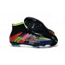 Scarpa da calcio per terreni duri Nike Mercurial Superfly - Nero Verde Blu Rosso What the Mercurial