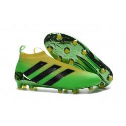Nuovi Scarpette da Calcio Adidas Ace 16+ Purecontrol FG / AG Brasile Olimpiadi Verde Solar Giallo Shock Nero