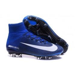 2016 Nuove Scarpa da calcio Nike Mercurial Superfly V FG Bianco Blu