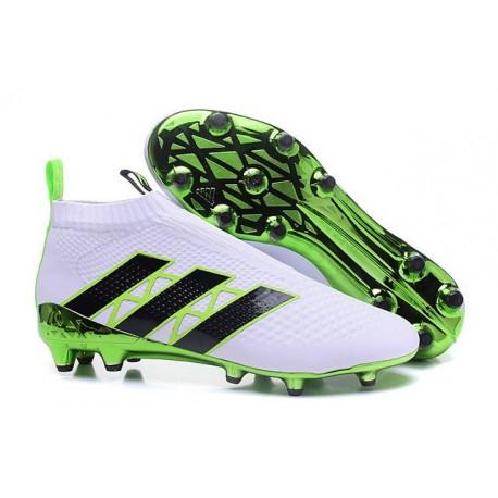 Nuovi Scarpette da Calcio Adidas Ace 16+ Purecontrol FG / AG Verde Bianco Nero