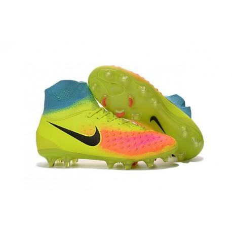 2016 Scarpe da calcio Nike Magista Obra II Fg Volt Nero Arancione Totale