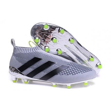 Nuovi Scarpette da Calcio Adidas Ace 16+ Purecontrol FG / AG Argenteo Nero