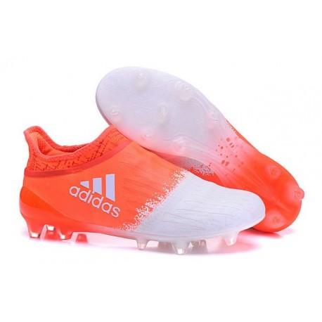 2016 Scarpette da Calcio Adidas X 16+ Purechaos FG - Bianco Arancione