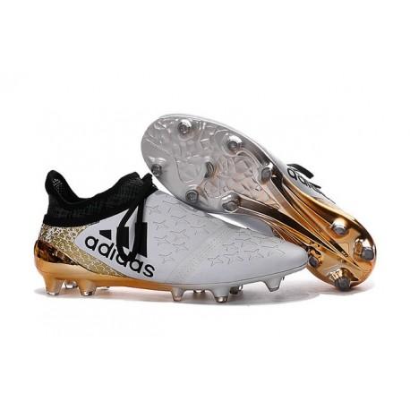 Scarpette da Calcio Adidas X 16+ Purechaos FG - Bianco Oro Nero