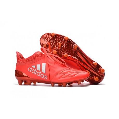 Adidas X 16+ Purechaos FG - Nuovi Scarpette da Calcio Pelle Rosso Solare Argento Metallico Rosso Hi-Res