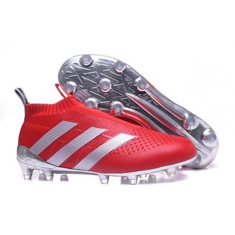 Nuovi Scarpette da Calcio Adidas Ace 16+ Purecontrol FG / AG Rosso Argenteo