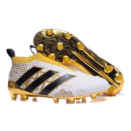 Nuovi Scarpette da Calcio Adidas Ace 16 Purecontrol FG / AG Stellar Pack Nero Bianco Oro