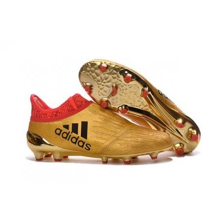 Adidas X 16+ Purechaos FG - Nuovi Scarpette da Calcio Oro Rosso Nero