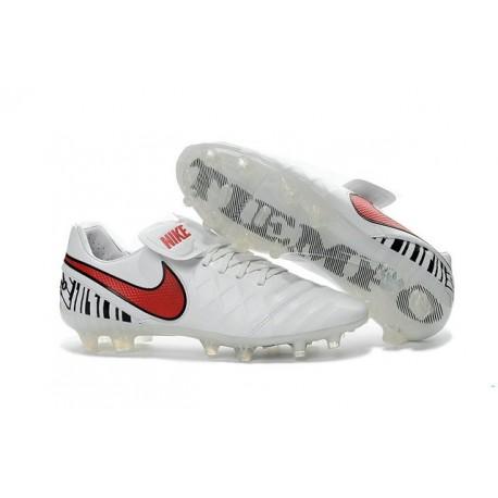 2016 Nuove Scarpe Calcio Nike Tiempo Legend FG Bianco Rosso