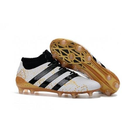 2016 Scarpini Calcio Adidas ACE 16.1 Primeknit FG/AG - Nero Bianco Oro