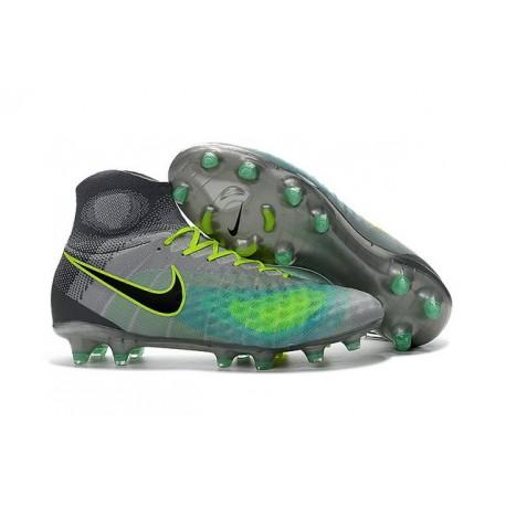 2016 Scarpe da calcio Nike Magista Obra II Fg Platino Puro Nero Verde