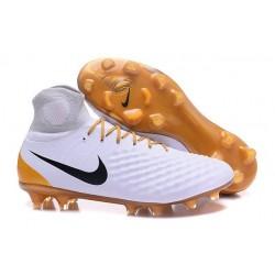 Nike Magista Obra 2 FG Scarpette da Calcio Uomo Bianco Oro