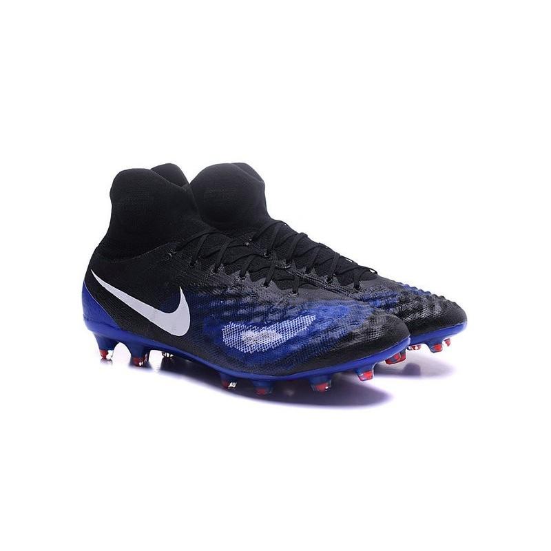 2016 Scarpe da calcio Nike Magista Obra II Fg Nero Blu Bianco