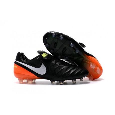 2016 Nuove Scarpe Calcio Nike Tiempo Legend FG Nero Bianco Arancione Volt