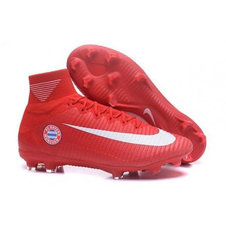 2016 Nuove Scarpa da calcio Nike Mercurial Superfly V FG FC Bayern München Rosso Bianco