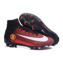 2016 Nuove Scarpa da calcio Nike Mercurial Superfly V FG Manchester United Football Club Rosso Nero Bianco