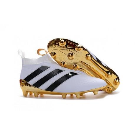 Nuovi Scarpette da Calcio Adidas Ace 16+ Purecontrol FG / AG Bianco Oro Nero