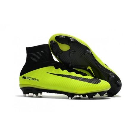 2017 Nuove Scarpa da calcio Nike Mercurial Superfly V FG Volt Nero