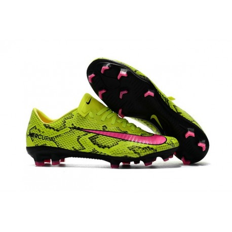 Scarpe Da Calcio Nike Mercurial Vapor XI Tech Craft FG Pelle di serpente Giallo Rosa