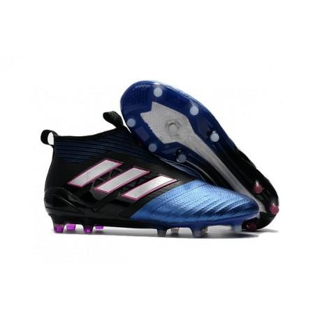 2017 Scarpe da Calcio Adidas ACE 17+ Purecontrol FG Nero Bianco Blu