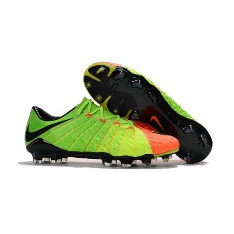 Nuove Scarpa da Calcio Per Terreni Duri Nike Hypervenom Phantom 3 FG Verde Nero Junior
