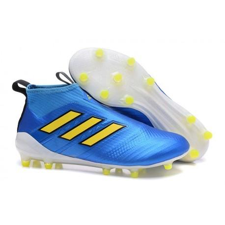 Nuove Adidas Calcio ACE 17+ Mastercontrol FG Per Uomo Blu Giallo Bianco
